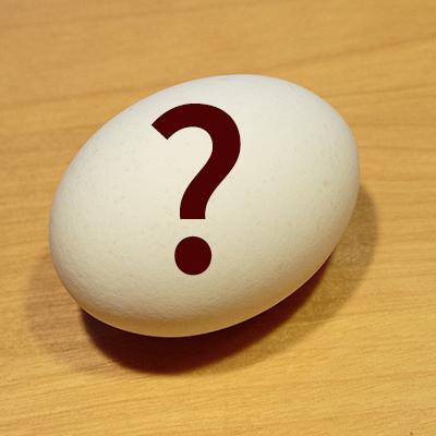 Foto: Ei mit Fragezeichen; Thema: Eier