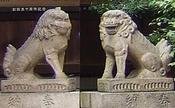 Komainu, links mit geschlossendem, rechts mit offenem Maul (Foto: © 2010 fduprel)