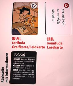 Yomifuda und torifuda eines Yōkai-Karuta-Sets von Komineshoten (Foto: ©2017 fduprel)