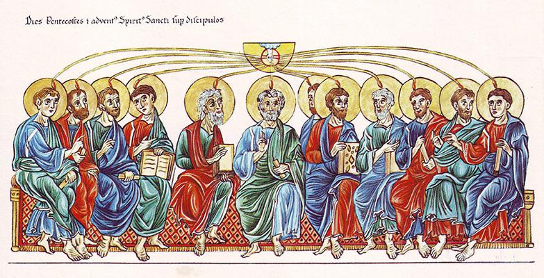 Das Pfingstwunder (Hortus Deliciarum, Pfingsten: Die Aussendung des Heiligen Geistes auf die Apostel)