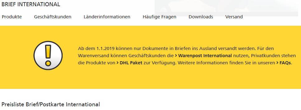 Screenshot Hinweis der Deutschen Post 2019